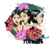 Three fashion Japanese girl with flowers on grunge background. For poster or design t-shirt. vector illustration