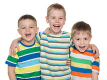 Three fashion laughing boys Royalty Free Stock Photos