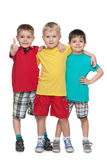 Three fashion little boys stand together Royalty Free Stock Images
