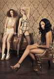 Three fashion models Stock Photo
