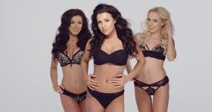 Three fashion models in black lingerie