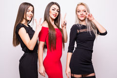 Three fashion models in  night dresses. Royalty Free Stock Image
