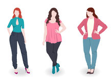 Three fashion women with different figure Royalty Free Stock Images