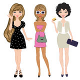 Three fashionable girls Stock Photo