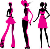 Three fashionable  girls Royalty Free Stock Images