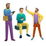 Three fashionable guys Stock Images
