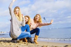 Three fashionable models outdoor stock photography
