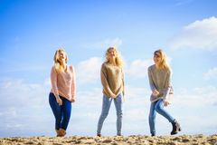 Three fashionable models outdoor royalty free stock photography
