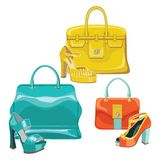 Three fashionable set.Colored handbag and high heel shoes. The composition of the three female's set.Colored handbag with high heel shoes.Fashion Vector Royalty Free Stock Images