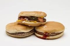 Three fast food hamburgers, horizontal Stock Photo