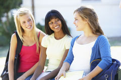 Three Female College Students Sitting On Bench With Textbooks Stock Images