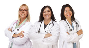 Three Female Doctors or Nurses on White Stock Photo