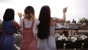 Three female friends enjoying hen party on the terrace, backside view. Fancy, modern clothes. Beautiful city view on the stock video