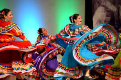 Three Female Mexican Dancers. At the Holiday Folk Fair International at the State Fair Park in Milwaukee, WI stock photo