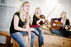 Three female Musicians Stock Photo