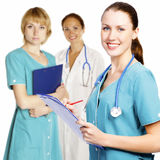 Three female nurses or doctors Stock Photography