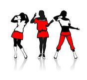 Three female silhouettes Stock Images
