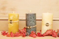 Three Feng Shui candles stock photo