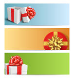 Three Festive Christmas Cards with Gift Boxes  on White Stock Image