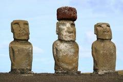 Three of fifteen huge Moai statues of Ahu Tongariki on Easter Island. Chile, South America royalty free stock photo