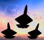 Three fighter jets in formation Stock Photo