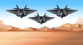 Three fighting jets flying over desert. Illustration Royalty Free Stock Photo