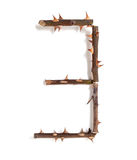 3 three figure composed of thorny rose stems. 3 three. set of numbers with a unique design of the stems of roses with large spikes on a white background Stock Photos