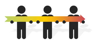 Three figure holding long colorful arrow Royalty Free Stock Image