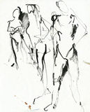 Three figures 2, drawing Stock Images