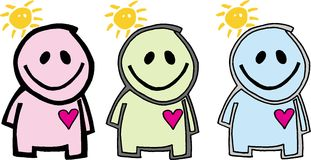 Three figures. Three isolated different figures with suns and hearts. vector image Stock Photos