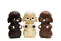 Three figures of delicious mixed chocolate Stock Photos