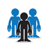 Three Figures Group Standout. Three figures in a group with one standout in black silhouette Royalty Free Stock Photos