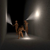 Three figures, men investigating room, cave, tunnel in the dark with flashlights. Illustration, rendering Stock Images