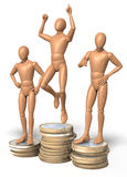Three figures, men posing on winner s podium, made up of coins Stock Photos