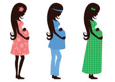 Three figures of a pregnant woman in different clothes. Royalty Free Stock Photos