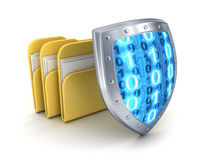 Three file and shield. (done in 3d Stock Photography