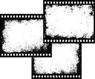 Three film frames. Three grunge film frames with transparent space insert royalty free illustration