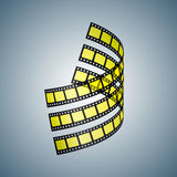 Three film strips. Three black and yellow film strips twisted in space. Vector illustration Royalty Free Stock Photography