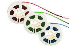 Three film tape reels Royalty Free Stock Photo