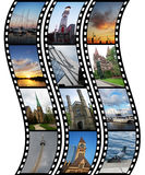 Three films with travel photos. Over white background Royalty Free Stock Photos