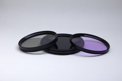 Three filters for lenses. Three colored filters for lenses Royalty Free Stock Photo