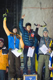 The three finalists at ice climbing world cup Royalty Free Stock Image