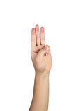 Three finger hand on white background Stock Images