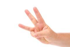 Three finger. Man's hand. Royalty Free Stock Photos