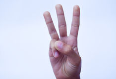 Three finger sign,hand sign concept Stock Photo