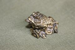 Frog symbol, bringing money, prosperity. Three-fingered frog-talisman of feng shui. A frog with a coin in the mouth can bring luck, wealth, prosperity. You can stock photo