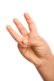 Three fingers. Kid�s hand showing three fingers up Stock Photography