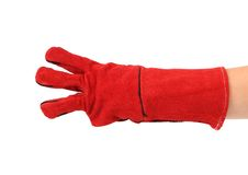 Three fingers in heavy-duty red glove. Stock Photos