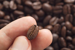 Three fingers holding coffee bean with blurred other beans scattered behind Stock Photo