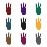 Three fingers icon in black style  on white background. Hand gestures symbol stock vector illustration. Three fingers icon in black style  on white background Royalty Free Stock Photos